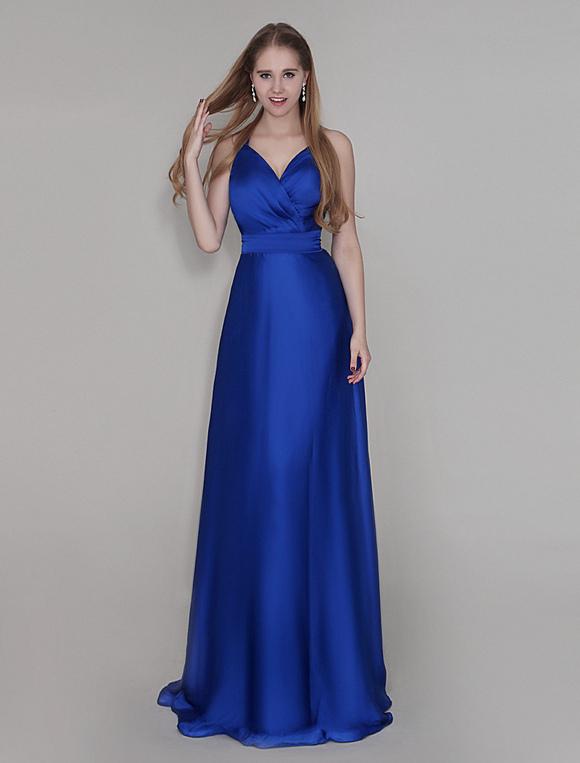 Robe demoiselle d 39 honneur bleue royale pliss e de col v for Robe bleue royale pour mariage