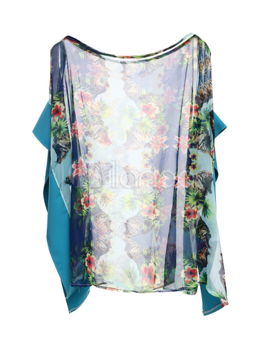 super popular eeca0 d157d Elegante Bateau blu collo tunica di seta-like per le donne
