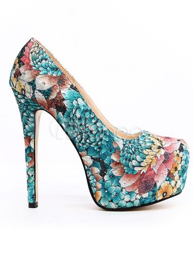 ... Escarpins à plateforme à talons aigus en tissu multicolore imprimé  fleuri bleu -No.2 ...