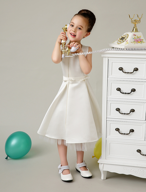 fda4db0aa107 ... Gioiello carino collo perle Bowknot raso fiore ragazza abito da  sposa-No.2 ...
