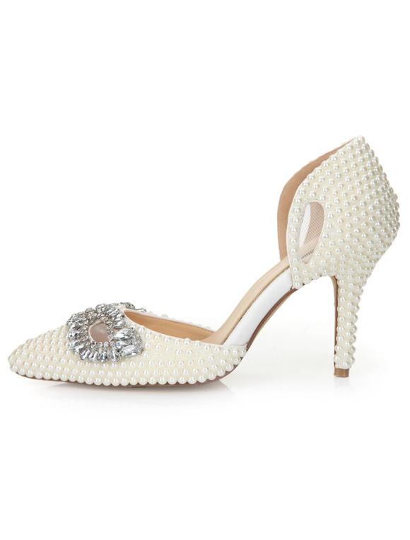 Escarpins à bout pointu et talon aigu en PU blanc avec strass et perle
