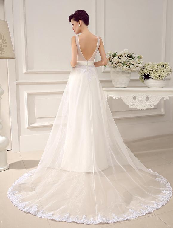 8ce426171 ... Vestido de novia con escote redondo y pedrería de cola larga Milanoo-No.  ...
