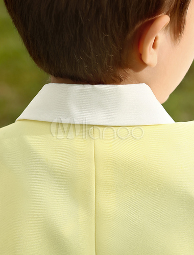 965bf689dba0 ... Baby Boy Suit Set Kids Wedding Tuxedo Yellow Jacket Pants Shirts Bow  Tie 4 Pcs Ring