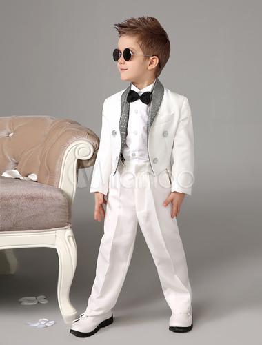 ... Bébé Garçon Costume Blanc Enfants De Mariage Tuxedo Set Veste Pantalon  Chemises Noeud Papillon 4 Pcs ... 38114581e07