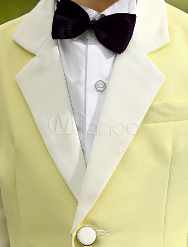 85199960010c ... Baby Boy Suit Set Kids Wedding Tuxedo Yellow Jacket Pants Shirts Bow  Tie 4 Pcs Ring ...