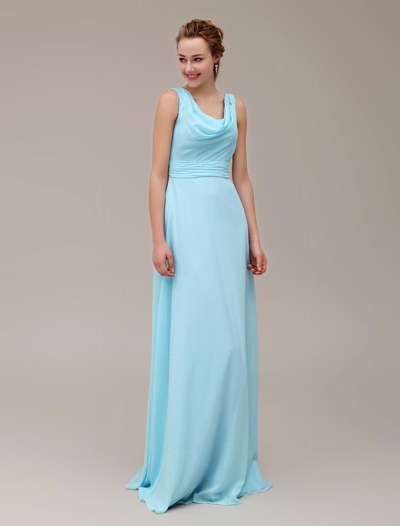 facde5c592 ... Strappy Cowl Neck Floor-Length Bridesmaid Dress With Pleated Chiffon  Milanoo-No.2 ...