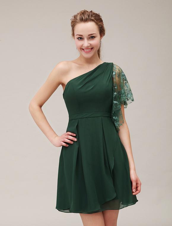 Abendkleid mit einschulter in dunkelgr n kleider f r - Kleider milanoo ...