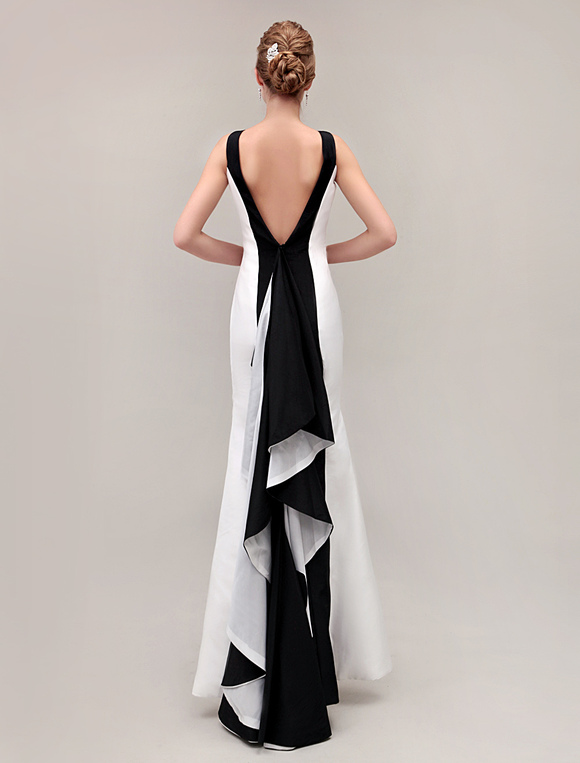 d3c5310efc ... black prom dresses 2019 Color Block backless fishtail evening gown  Mermaid Ruffles formal dresses-No ...