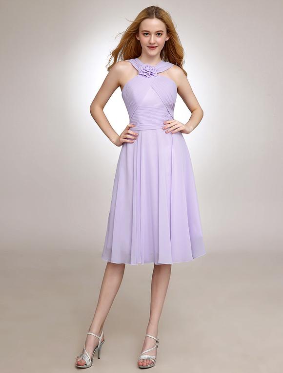 quality design 4e21c 19cb1 Capestro corto damigella d'onore vestito Lilla Chiffon plissettato partito  abito da sposa