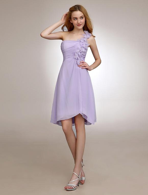 size 40 1a3e8 611f5 Lilla corto damigella d'onore abito monospalla pieghe fiore Chiffon  Backless Homecoming Dress