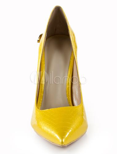 escarpin jaune en cuir