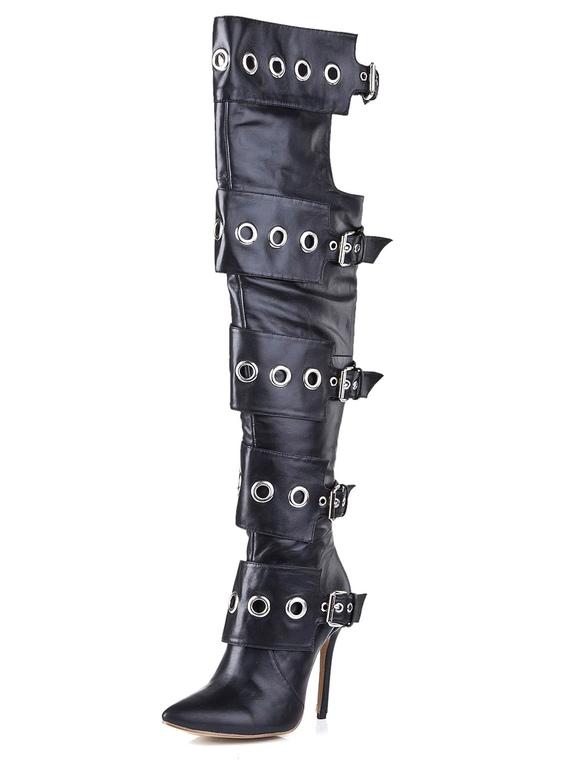Botas sobre la rodilla de cuero con cremallera Kx1P15floe
