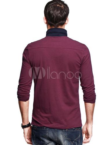 polo homme bordeaux en coton avec logo. Black Bedroom Furniture Sets. Home Design Ideas