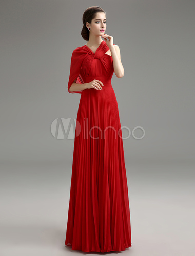 Red Criss Cross Chiffon Dress For Mother Of The Bride