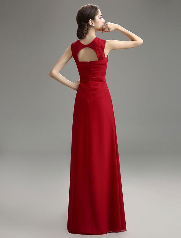 Abendkleid aus chiffon in burgunderrot for Milanoo abendkleider