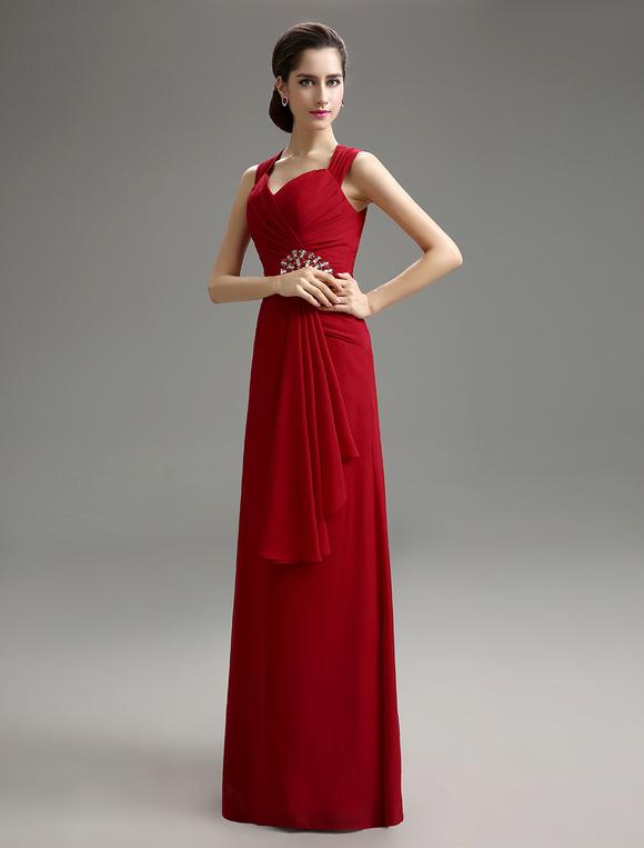 Abendkleid aus chiffon in burgunderrot - Milanoo abendkleider ...
