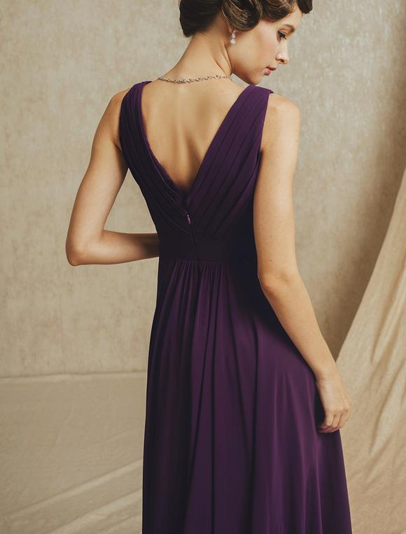 d8f86d2626fb Deep Purple Pleated Chiffon Bridesmaid Dress with V-Neck - Milanoo.com