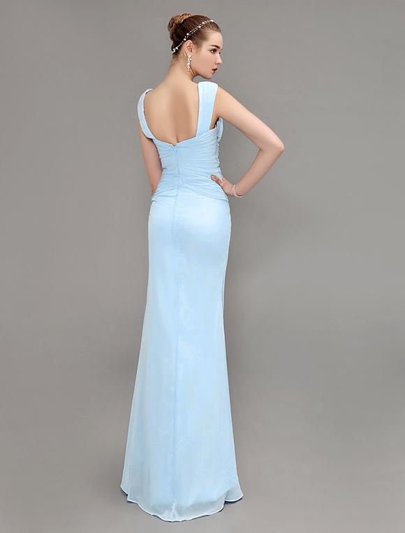 free shipping e629b f5eb4 Abito da sera tubino scollato vestito da partito pastello blu Festoni  laterali pieghe pizzo Prom Dress