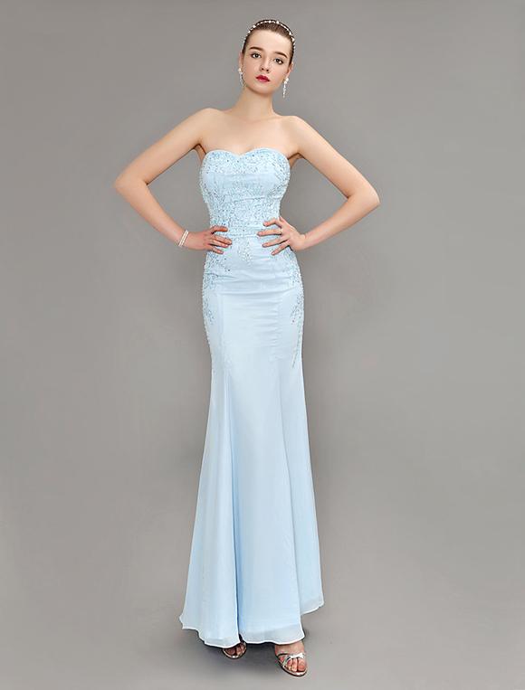 Meerjungfrau Abendkleid Pastell Blue trägerlosen Kleid Perlen ...