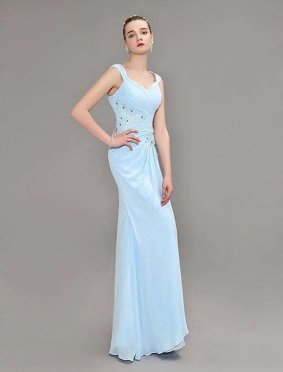 ... Abito da sera tubino scollato vestito da partito pastello blu Festoni  laterali pieghe pizzo Prom Dress ... 3a7a6b27b6e