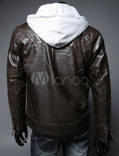 official photos dbe3d 7a17e Biker giacca di pelle con felpa con cappuccio staccabile in Fit rilassato