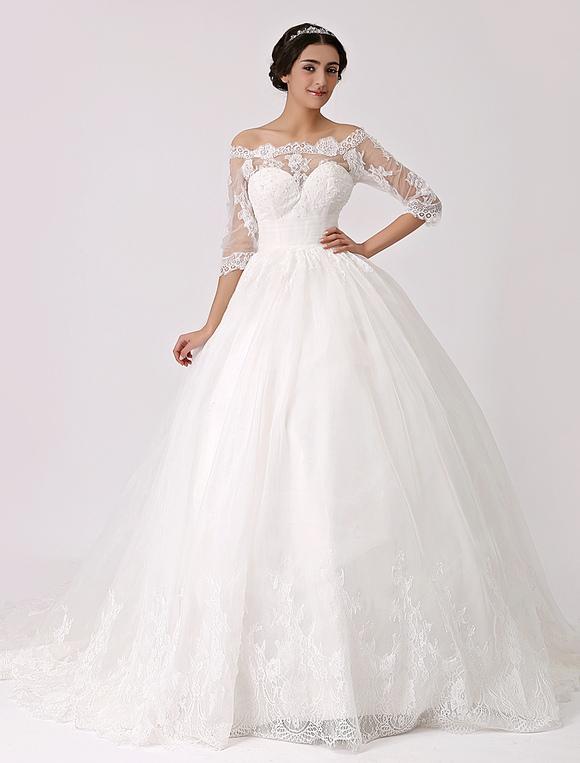 Robe mari e en tulle ivoire avec dentelle hors de l 39 paule for Hors des robes de mariage san francisco