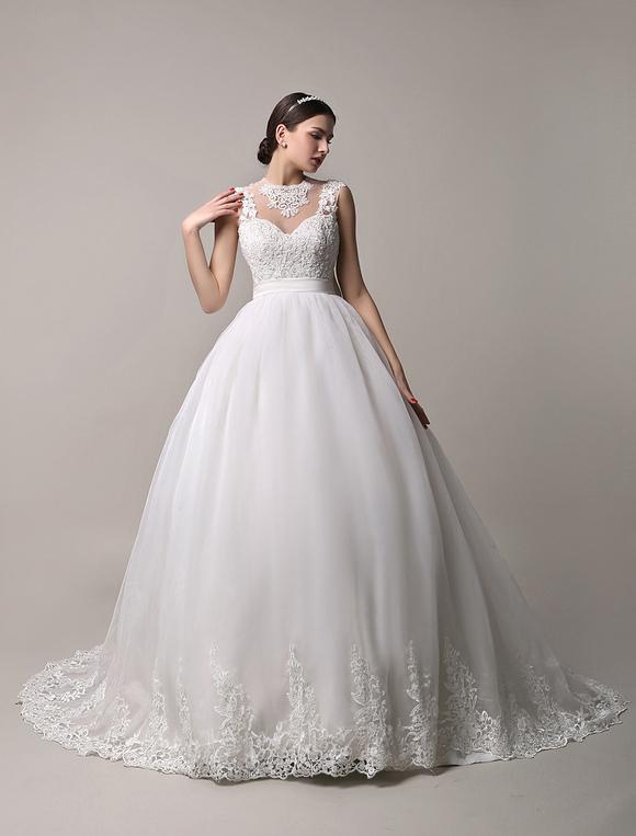 Ivory sheer neckline ball gown wedding dress with illusion lace back ivory sheer neckline ball gown wedding dress with illusion lace back milanoo no junglespirit Choice Image