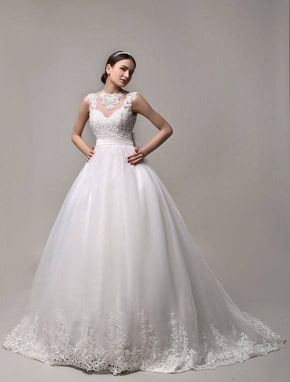 Ivory Sheer Neckline Ball Gown Wedding Dress with Illusion Lace Back ...