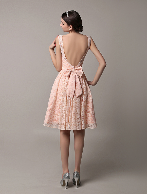 Robe demoiselle d 39 honneur en dentelle rose avec noeud dos - Robe demoiselle d honneur bordeaux ...