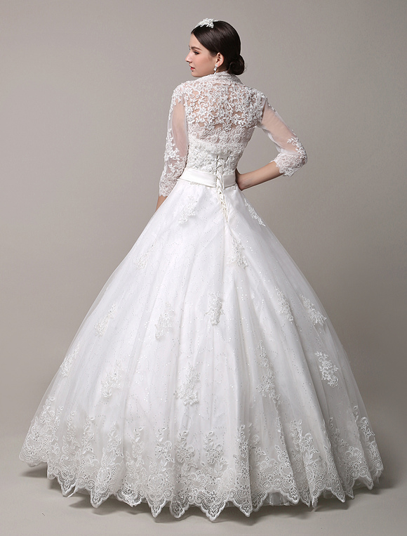 ... Princess Wedding Dresses Strapless Sweetheart Neckline Bridal Dress  Rhinestones Beaded Floor Length Wedding Gown With Jacket ...