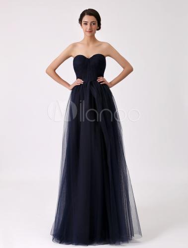 robe demoiselle d 39 honneur en tulle bleu marine fonc bustier. Black Bedroom Furniture Sets. Home Design Ideas