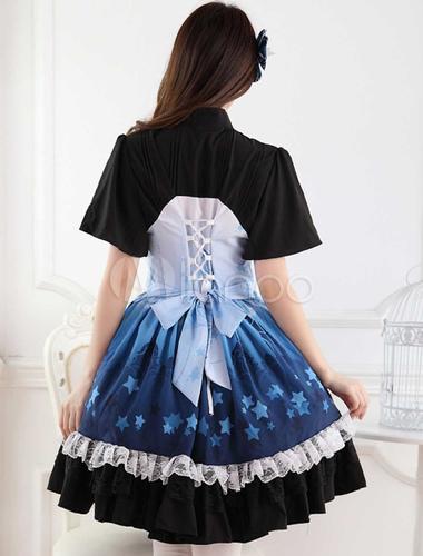 Ombre Blue Star Print Lace Cute Lolita Dress Milanoo Com