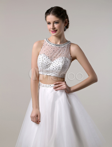 b296b26953d8 ... Two Piece Prom Dresses 2019 Short White Prom Dress Crop Top Cutout Back  With Tulle Tutu ...