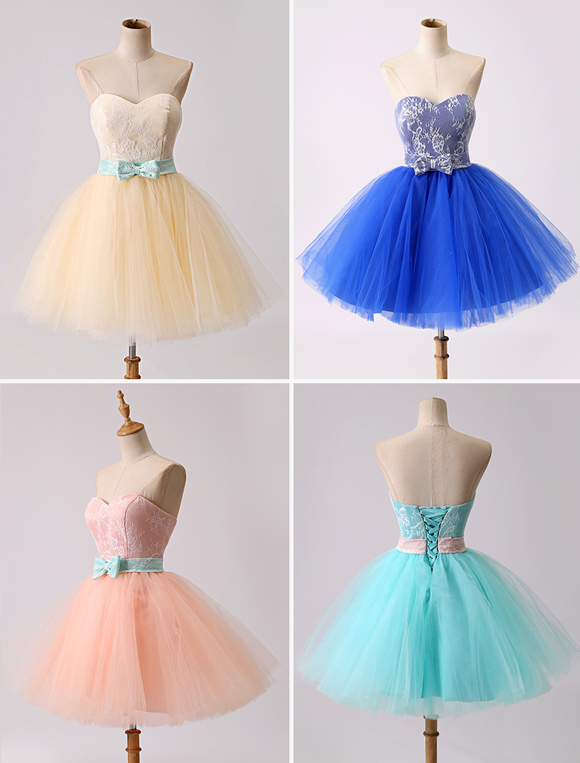 Short Mini Multi Color Cute Lace Tulle Prom Dress With Bow Milanoo