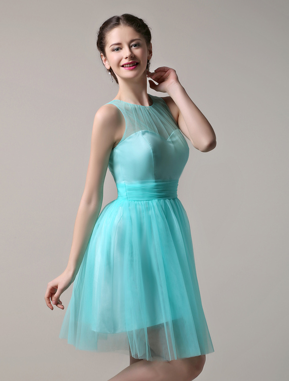 robe demoiselle d 39 honneur en tulle vert menthe col. Black Bedroom Furniture Sets. Home Design Ideas