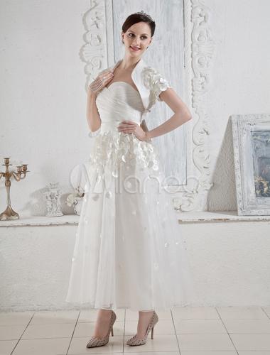 Vestidos Cuello Arcos Novia Blanco Moldeado Vestido De b6f7Ygy
