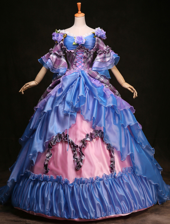 Royal Retro Costume Women S Rococo Ball Gown Blue Plaid