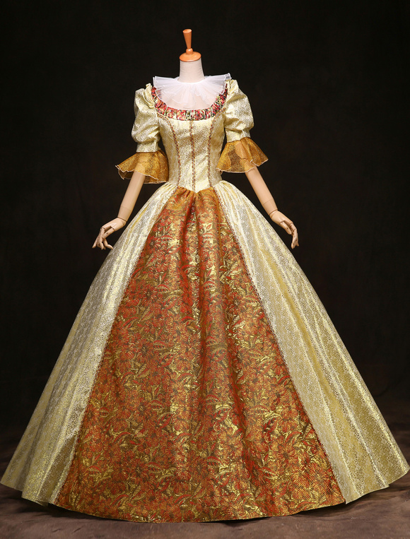 Womens Vintage Costume Victorian Ball Gown Gold Half Sleeve Royal Retro Dress Halloween