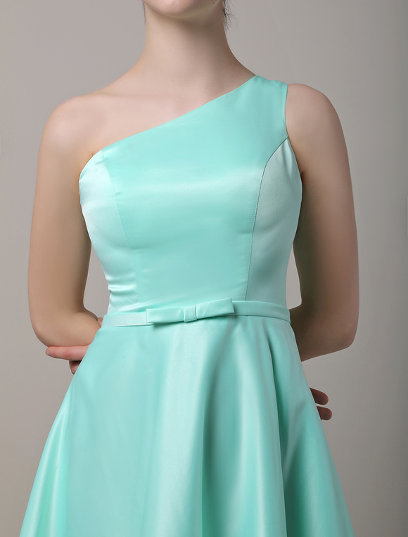 Milanoo / A-Line One Shoulder Short/Mini Satin Bridesmaid Dress With Bow