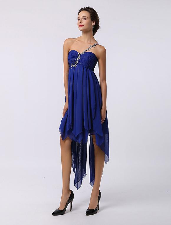 ab0c7e8dd31b ... Blue Prom Dress 2019 Short Chiffon Beading Homecoming Dress Royal Blue  One Shoulder High Low Cocktail ...