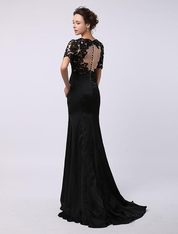 Schwarzes abendkleid lang mit spitze und kurzer rmel for Milanoo abendkleider