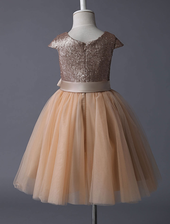 4f05418d8 ... Flower Girl Dresses Champagne Sequined Tutu Pageant Dress Toddlers Cap  Sleeves Tulle Short Kids Party Dresses ...