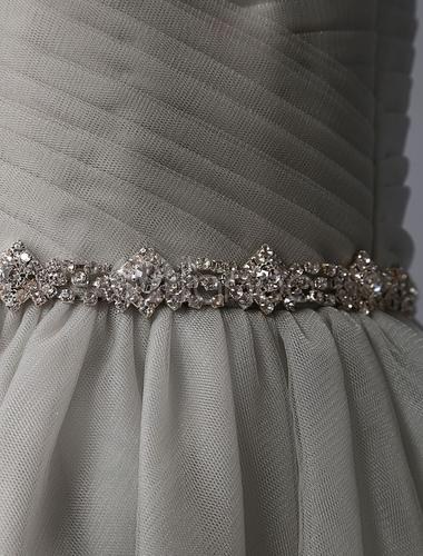 ce427117b ... Vestidos de Floristas grises Illusion escote con lentejuelas bordado  Tulle con Rhinestone con cuentas Tutu vestido ...