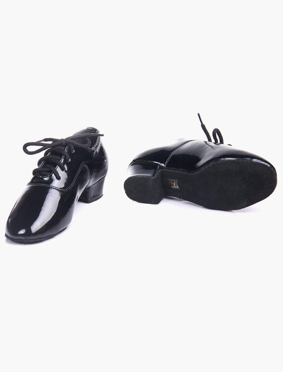 Calidad Negro suave única almendra patente PU superior salón de baile zapatos para las clases f7j6YM3x