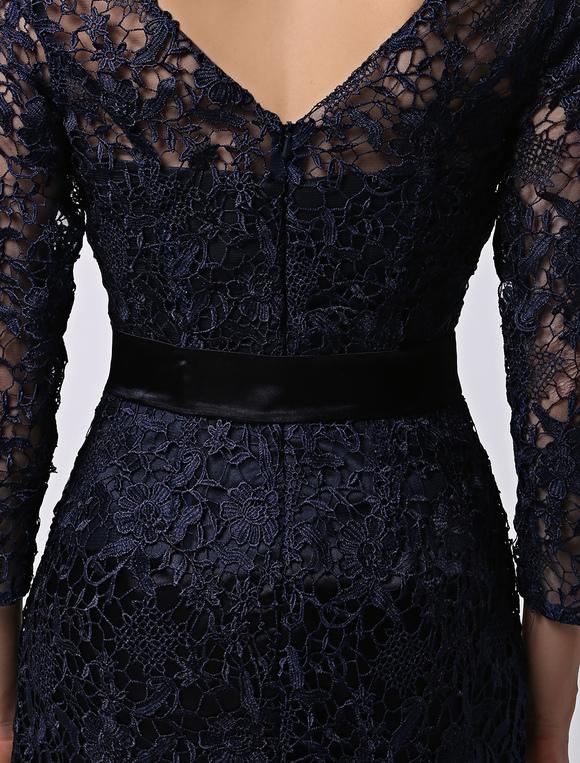 Robe soutenue demoiselle d 39 honneur fourreau bleu marine for Robes de demoiselle d honneur mariage marine