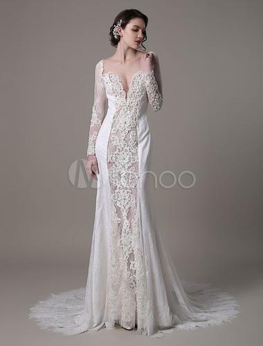 Sexy pizzo abito da sposa Vintage con lunghe maniche lusso con scollo a  v profonda illusione di