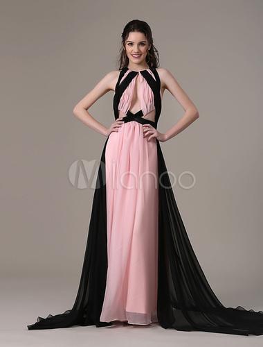 new style 40ba9 ea16c Joanne Froggatt rosa e nero in Chiffon Emmy vestito lungo