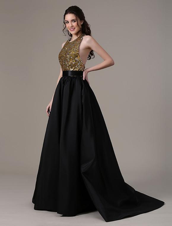 17a46ec9ae8b8 ... Boda negro vestido bola vestido tafetán bolsillos lentejuelas  blusa-No.4 ...