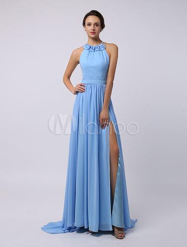 c7875b7417 Vestido de damas de honor de chifón con escote halter y abertura lateral-No.