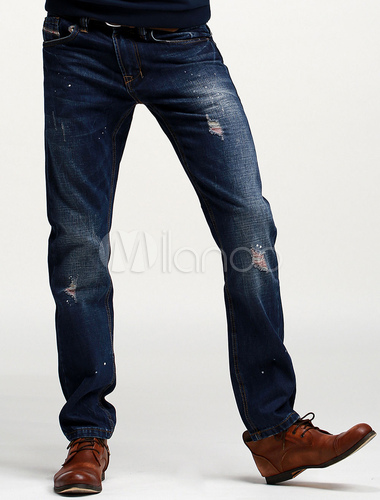 zerrissene gerade jeans f r m nner. Black Bedroom Furniture Sets. Home Design Ideas